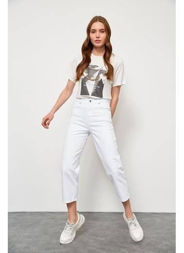 Setre Beyaz Yüksek Bel Wide Leg Jean Beyaz